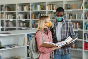 Students Wearing Masks in Library